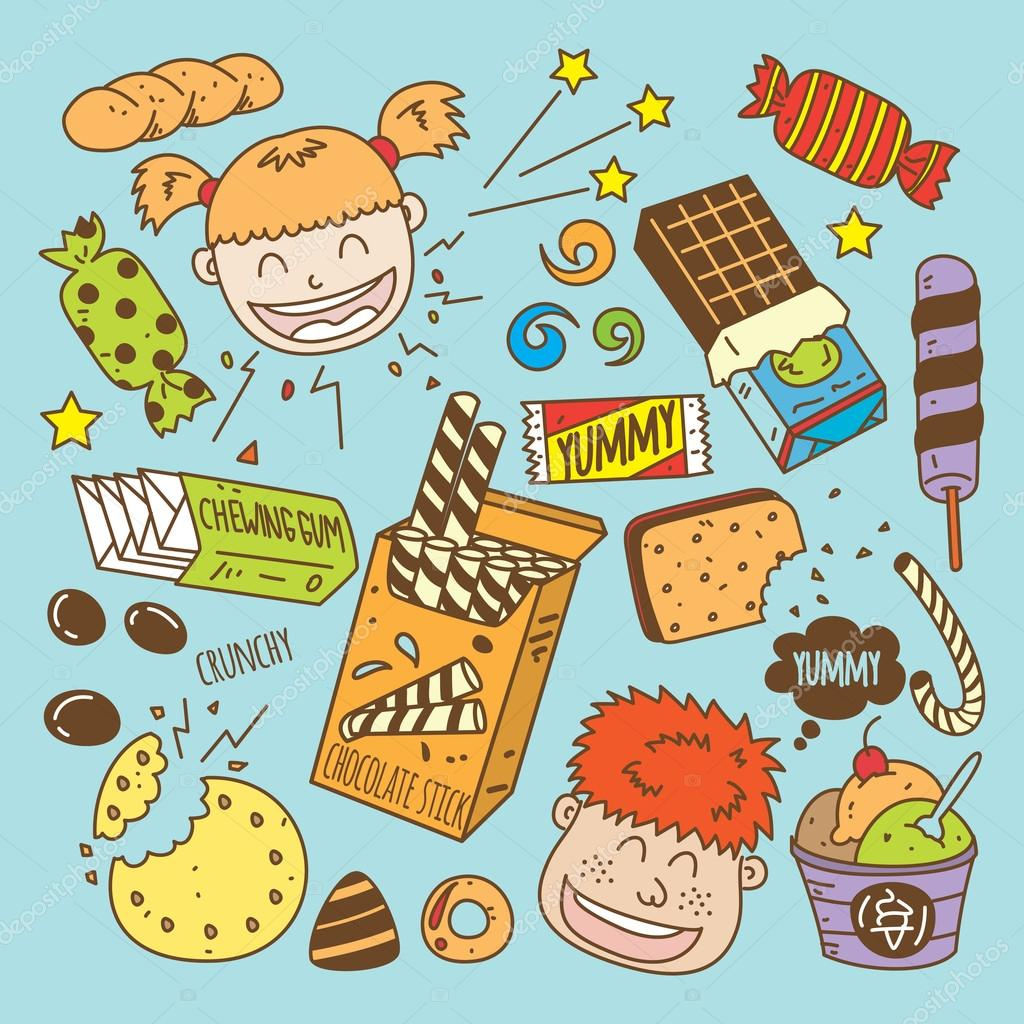 Various Snack Cartoon Icons Stock Vector 169 Mhatzapa