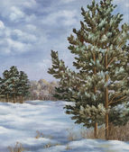Painting, winter forest — Stock Photo