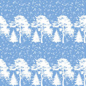 Seamless, trees silhouettes and snow — Vector de stock