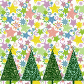 Seamless pattern with Christmas trees — Stock Vector