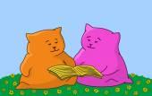 Cartoon animal read the book — Stock Photo