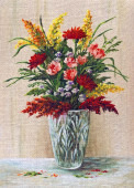 Painting Flowers in a Crystal Vase — Stock Photo