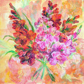 Bouquet Of Gladiolus Flowers — Stock Photo