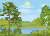 Пейзаж с деревьями, озеро и солнца — Cтоковый вектор