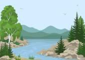 Пейзаж с деревьями и горная река — Cтоковый вектор