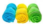 Towels row isolated — Stock Photo