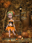 Beautiful toon pumpkin girl — Stock Photo