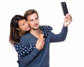 Young couple take selfie — Stock Photo