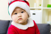 Baby girl with christmas dressing — Stock Photo