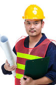 Asian engineer with blue print and clipboard — Stock Photo