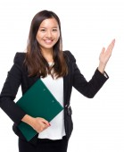 Woman hold clipboard present — Stock Photo