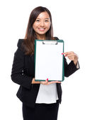 Female show clipboard — Stock Photo
