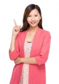 Woman with finger point out — Stock Photo