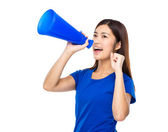 Woman shout with megaphone — Stock Photo