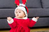 Baby girl with christmas costume — Stock Photo