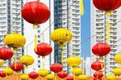 Red and yellow Chinese lantern — Foto Stock