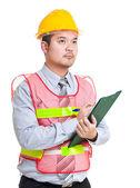 Engineer write on clipboard — Stock Photo