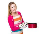 Housewife with saucepan — Stock fotografie