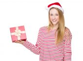 Woman holding red gift box — Stock Photo