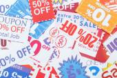 Clipped multi valued grocery coupons — Stock Photo