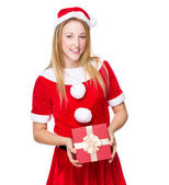 Young girl with Christmas presents — Stock Photo