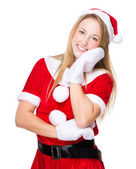 Young girl in Christmas dress — Stock Photo