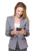 Caucasian businesswoman with cellphone — Foto de Stock