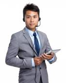 Asian male сall center operator — Stock Photo
