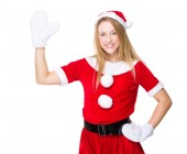 Christmas woman with hand raised up — Стоковое фото