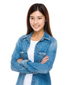 Asian woman with arms crossed — Stock Photo
