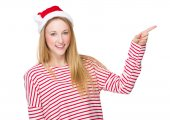 Woman with finger point up — Foto de Stock