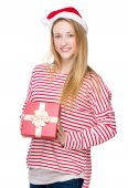Christmas woman hold with red present box — Foto de Stock