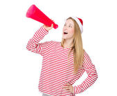Woman yelling with megaphone — Stock Photo
