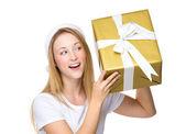 Christmas woman with gift box — Stock Photo
