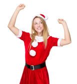 Christmas woman raised her hands up — Stock Photo