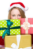 Christmas woman with many giftboxes — Stock Photo
