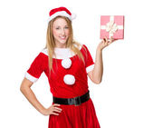 Christmas woman with giftbox — Stock Photo