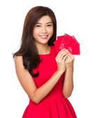 Woman with lucky pocket money — Stock Photo