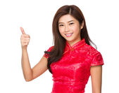 Woman with thumb up — Stock Photo