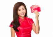 Woman with pocket money — Stock Photo