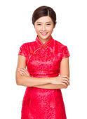 Chinese woman in red dress — Stock Photo