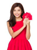 Asian woman in red dress — 图库照片