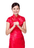 Asian woman in red dress — Foto Stock
