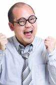 Excited businessman yell — Stock Photo