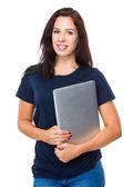 Caucasian woman in blue t shirt — Stock Photo