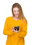 Woman look at cellphone — Stock Photo