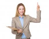 Caucasian businesswoman in beige suit — Stock Photo