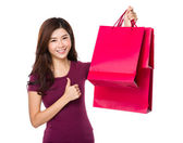Asian woman in red t shirt — Stock Photo