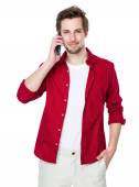 Handsome man in red shirt — Stock Photo
