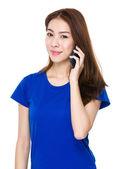 Asian woman in blue t shirt — 图库照片